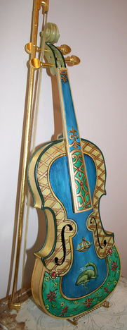 Painted and Gilded Violin by Artist Marsha Bowers