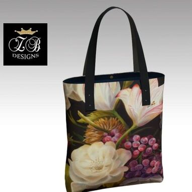 winter floral tote by Marsha Bowers